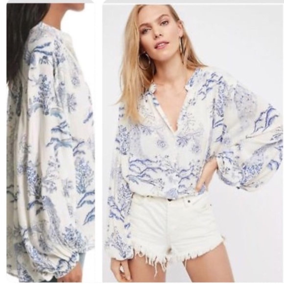 Free People Tops - Free People~Cream Peacock Blooms~Flowy Tunic~Med.